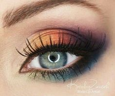 Maquillaje ojos con naramjas y azules