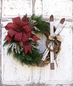 Ski Wreath Rustic Christmas Wreath Farmhouse Christmas