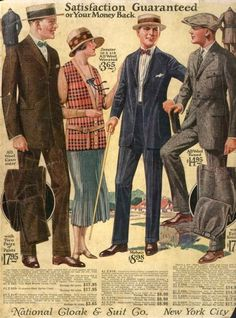 1920's Men's and Women's fashion catalogue featuring wool, cotton, and corduroy suits.                                                                                                                                                     More