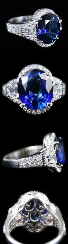 Blue Sapphire & Diamond Ring. Accompanied by 7.00 carats of Blue Sapphire and 1.31 carats of Diamonds.