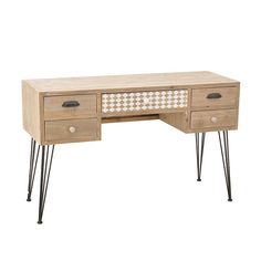 WOODEN CONSOLE TABLE IN BEIGE COLOR 114Χ40Χ77 - Drawers - Consoles - FURNITURE