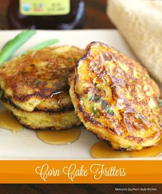 Corn Cake Fritters - These corn cake fritters are a cross between a pancake and a fritter. Instead of deep frying as you would a classic fritter, I shallow fry them in a heavy bottomed cast iron skillet until golden on both sides. Corn Fritter Recipes, Corn Recipes, Side Dish Recipes, Recipies, Easy Recipes, Cornbread Recipes, Retro Recipes, Pudding Recipes, Mexican Recipes