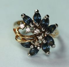 Faux Sapphire and Crystal Cluster Ring Vintage by PastSplendors, $26.00