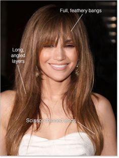 Long angled layers, full feathery bangs, scissor trimmed ends