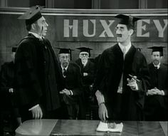 """Why don't you go home to your wife? I'll tell you what, I'll go home to your wife, and outside of the improvement she'll never know the difference.""        Groucho Marx (at right) as Professor Quincy Adams Wagstaff (speaks to Reginald Barlow as the Retiring College President) in 'Horse Feathers.'"