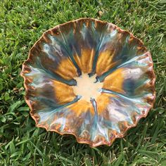 Cone 6 bowl. Duncan weathered copper & coyote red gold