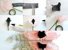From Craftberry Bush - crepe anenome tutorial    http://www.craftberrybush.com/2012/06/crepe-anemone-flower-tutorial.html