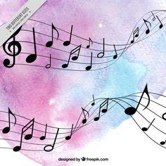 Fondo de acuarela de pentagrama con notas musicales Vector Gratis