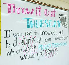 Daily Whiteboard Writing Prompts: Think About It Thursday Daily Writing Prompts, Teaching Writing, Teaching Tools, Teaching Themes, Writing Activities, Morning Activities, Professor, Journal Topics, Journal Prompts