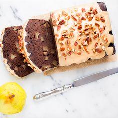 Spiced Pear Chocolate Pound Cake with Rum Praline Recipe
