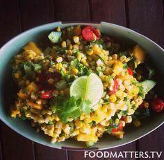 Summer Salad: Fresh Corn, Mango, Cilantro, Cherry Tomato, Cucumber & Lime Juice #organic #foodmatters #healthyfood #fresh #summer #detox