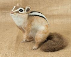 Zur Bestellung Nadel gefilzt Streifenhörnchen: Custom Nadel gefilzte Tier Skulptur