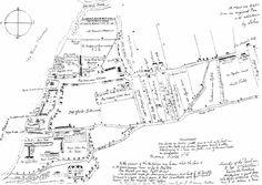 """A 1623 map of Deptford Strond with annotations by John Evelyn showing Sayes Court in the bottom left corner and Deptford Green as """"The Common Greene"""" just above centre-left Christopher Marlowe, Local History, Ancient History, Family History, Old Maps, River Thames, Time Magazine, Types Of Music, Great Friends"""