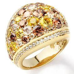 Jean Dousset 5.60ct Absolute Multicolor Sterling Vermeil Dome Ring Size 8 #JeanDousset #Dome #hsn
