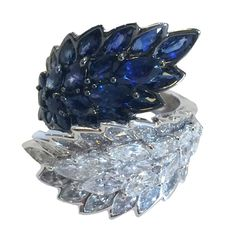 Sapphire Diamond White Gold Leaf Ring | From a unique collection of vintage cocktail rings at https://www.1stdibs.com/jewelry/rings/cocktail-rings/