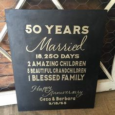 """50 year wedding anniversary  Custom sign in gold & black #thebannergirls…"
