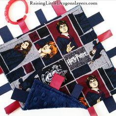 For the Hogwarts-bound Potterhead-in-training! (Harry Potter baby ribbon tag blanket sensory toy) #RaisingLittleDragonslayers