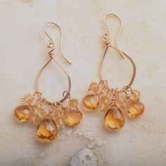Gold Hoop Earrings, Citrine Earrings, Golden Yellow Gemstone Earrings, Healing Gemstone Jewelry, November Birthstone