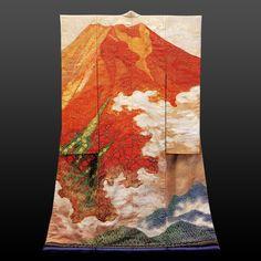Kimono - Tsujigahana「唵」(龍雲たなびく赤富士)