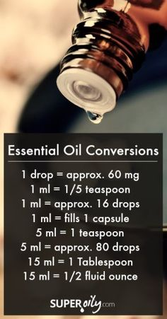Essential Oil Conversions #drop #yleo #positivelyessential