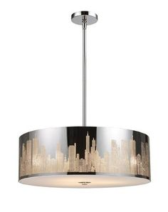 "Elk Lighting 31039/5 8"" Height 5 Light Pendant with a Drum Shade from the Skylin Polished Stainless Steel Indoor Lighting Pendants Drum"