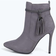 Boohoo Lilly Fringe Trim Pointed Suedette Ankle Boot ($50) ❤ liked on Polyvore featuring shoes, boots, ankle booties, grey, grey suede booties, grey ankle boots, fringe ankle boots, suede wedge booties and high heel ankle boots