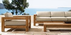 """Restoration Hardware. Colorado Collection. Solid oak. Mortise and tenon. Outdoor knife - edged zippered cushions. 74""""W x 39¾""""D x 21¼""""H Seat 34""""D."""