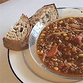 Vegan Lentil Soup Add 2 Tbsp garlic, 1/8 tsp cumin, 2 stalks celery, and 3/4C diced potatoes. Yum!