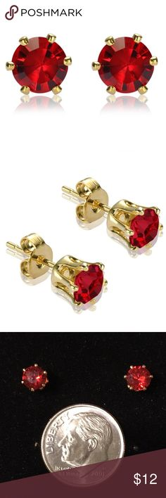🍀5mm Red Ruby CZ & 18K Gold Overlay Earrings 5mm round cut red Ruby cubic zirconia and 18K gold plated earrings. Perfect size for 2nd or 3rd piercings. Riva Jewelry Earrings