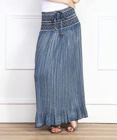 Love this Blue Textured Denim Maxi Skirt on #zulily! #zulilyfinds