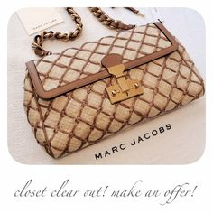"Marc Jacobs Baroque Faye This is such an unique bag. The quilted raffia is accented by tan leather, and the gold hammered hardware and leather entwined chain add an elegant touch. The push-lock closure has an optional lock, and the satin lined interior has one interior zip pocket. Approx. 13""W x 7.5""H x 2""D with a 8.5"" strap drop. New with tags, cards, and dust bag. The only other one online is $800.  ✅ OFFERS  SHIPS FAST    CLOSET TEMPORARILY CLOSING BY MAY - MAKE AN OFFER NOW!   instagram…"