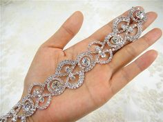 Stunning luxury wedding / bridal applique with high quality crystal rhinestones, ideal for making wedding sash belts, decorating the wedding dress,
