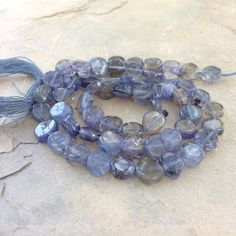 Iolite Coin Beads, Iolite Beads, smooth, 13 1/2 inch strand, 5 or 6mm by marketplacebeads on Etsy