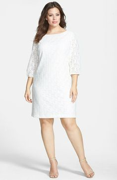 Eliza J Balloon Sleeve Lace Shift Dress (Plus Size) available at #Nordstrom