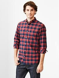 Lived-in wash lightweight twill plaid shirt