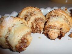 My Italian Grandmother: Cream Cheese Crescents - Secret Recipe Club (I would use pecans instead of walnuts) Cookie Desserts, Just Desserts, Delicious Desserts, Dessert Recipes, Yummy Food, Cookie Table, Gourmet Desserts, Holiday Desserts, Plated Desserts