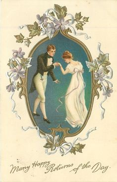 MANY HAPPY RETURNS OF THE DAY  young couple dance formally, pale violets
