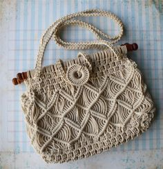 1970's macrame handbag, $18 from NattyMichelleVintage. ----not sure this is crochet but it is an awesome pattern and technique!