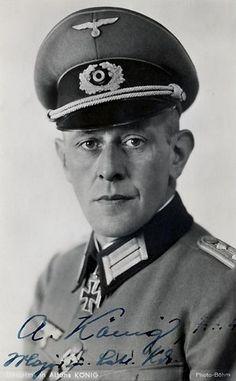 """✠ Alfons König (29 December 1898 - 8 July 1944) Killed in action while defending Bobruisk. RK 21.12.1940 Oberleutnant d.R. Chef 6./Inf.Rgt 199 """"List"""" 57. Infanterie – Division [194. EL] 21.02.1943 Hauptmann d.R. Kdr III./Gren.Rgt 217 57. Infanterie – Division [70. Sw] 09.06.1944 Oberstleutnant d.R. Kdr Gren.Rgt 199 """"List"""" 57. Infanterie – Division"""