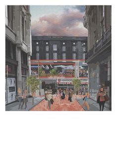 Raphael Arthur - A new civic yet intimate infrastructure for Oxford St. Architecture Sketchbook, Architecture Collage, Architecture Graphics, Urban Interior Design, Urban Design Concept, Urban Intervention, Architecture Presentation Board, Architectural Section, Urban Planning