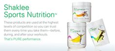 The best Sport Nutrition Products to be found.  Powering the Shaklee Pure Performance Team in London 2012.
