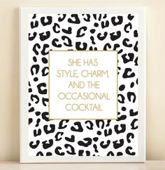 Black White and Gold Leopard Print 'She Has Style Charm by ACDShop