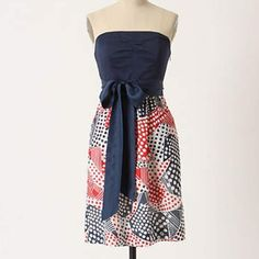 Anthropologie Strapless Dress! Red, White & Blue Odille Dress from Anthropologie! Has pockets! Lightly Worn. Anthropologie Dresses Strapless