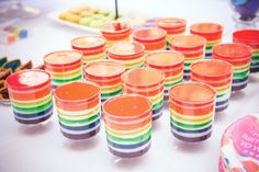 #Rainbow #jello cups! A tasty & pretty #party treat.
