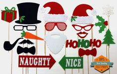 Ugly Christmas Sweater Party Photo Booth Props - Holiday Photo With Santa Clause Frosty Snowman Naughty Nice Style Props Fun Photobooth on Etsy, $34.99