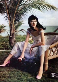 """Vogue US April 1995 """"The Fine Print"""" Model: Kristen McMenamy Photographer: Steven Meisel Stylist: Grace Coddington"""