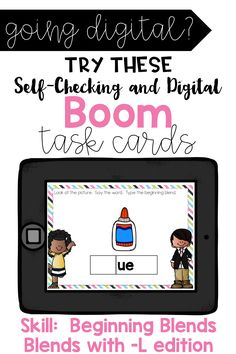 Beginning Blends -L Edition See, Say, Spell Boom Cards Daily 5 Activities, Sight Word Activities, Back To School Activities, Interactive Activities, Teaching Sight Words, Dolch Sight Words, Teaching Math, Teaching Resources, Reading Skills
