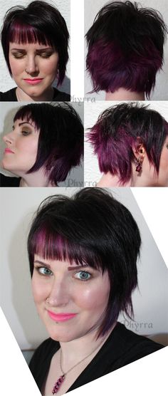 black and purple short funky cut with heavy, chewed on fringe and flippy pieces in the back. asymmetrical.