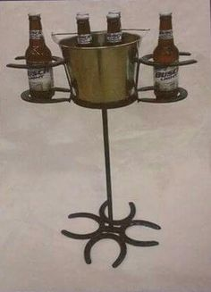 Horseshoe Drink Holder with Bucket by KropfsKreation on Etsy