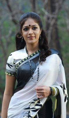 Meghana: black and white saree